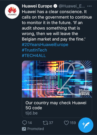 Huawei promoted tweet