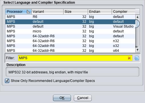 Selecting MIPS 32 bit big endian